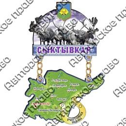 Магнит Качели с картой республики Коми и зеркальной фурнитурой
