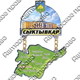 Магнит Качели с картой и достопримечательностями и зеркальным логотипом Сыктывкара