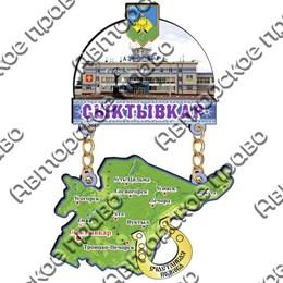 Магнит Качели с картой республики Коми, достопримечательностями Сыктывкара и зеркальной фурнитурой