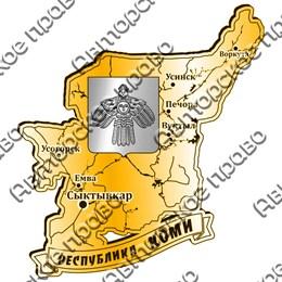 Магнит зеркальный комбинированный Карта с гербом Республика Коми