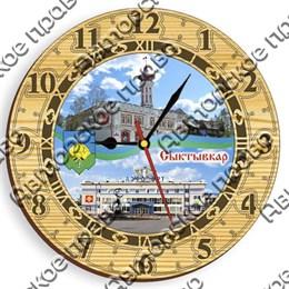 Часы круглые 25 см 2-хслойные вид 3 с достопримечательностями Сыктывкара