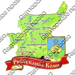Магнит Карта Республики Коми на ленте