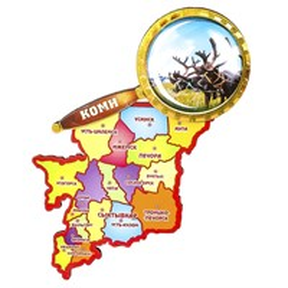 Магнит Карта республики Коми с лупой
