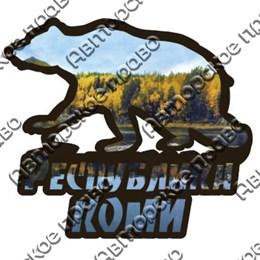 Магнит 2-хслойный Силуэт медведя с символикой республики Коми