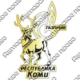 Магнит зеркальный Олень с символикой республики Коми