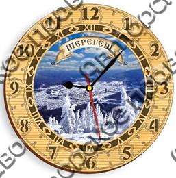 Часы круглые 25 см 2-хслойные вид 3 с видами Шерегеша