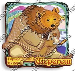 Магнит цветной Медведь в шубе с символикой Шерегеша