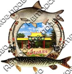 Магнит 2-хслойный Рыбы с видами Лагани вид 2