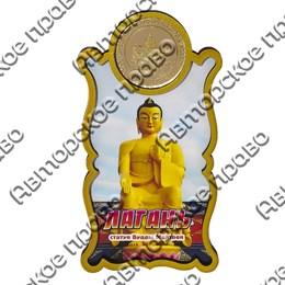 Магнит Этикетка с зеркальной фурнитурой Будда с символикой Лагани