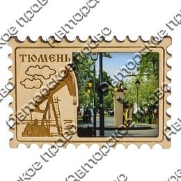 Магнит гравированный с картинкой Марка с видами Тюмени