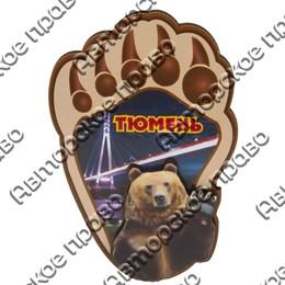 Магнитик 2-хслойный Лапа медведя с видами Тюмени