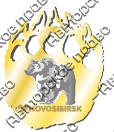 Магнит зеркальный комбинированный Лапа медведя с символикой Новосибирска вид 2