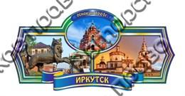 Магнит Этикетка синяя с достопримечательностями Иркутска