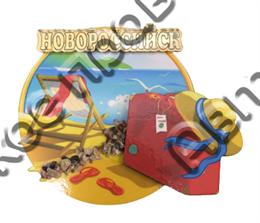 Магнит Пляж с зеркальным логотипом Новороссийска
