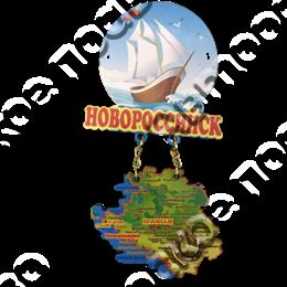 Магнит Качели Парусник с картой и зеркальной фурнитурой с символикой Новороссийска