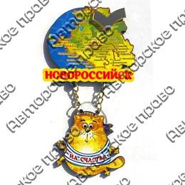 Магнит Качели Карта с зеркальной фурнитурой, котом и символикой Новороссийска