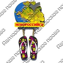 Магнит Качели Карта с зеркальной фурнитурой, сланцами и символикой Новороссийска