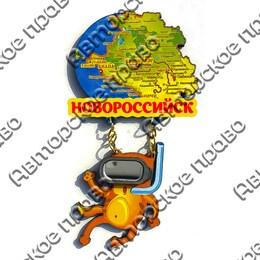 Магнит Качели Карта с котом в маске и символикой Новороссийска