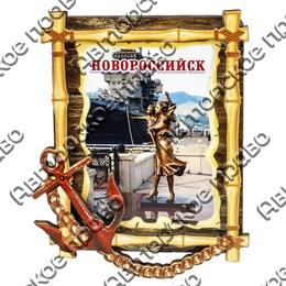 Магнитик 2-хслойный Бамбук с якорем с символикой Новороссийска