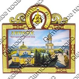 Магнит с оттиском Резная рамка с колокольчиком и видами, достопримечательностями или символикой Вашего города