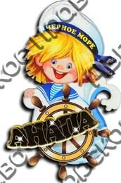 Магнит Морячок с зеркальным логотипом Вашего города