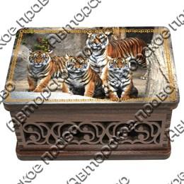 Шкатулка малая резная со смолой Тигр вид 2