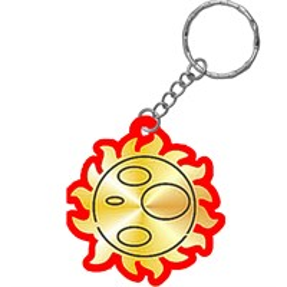 Брелок зеркальный на цветной подложке Солнышко
