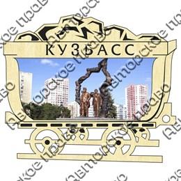 Магнит гравированный с картинкой Достопримечательности с символикой Кузбасса