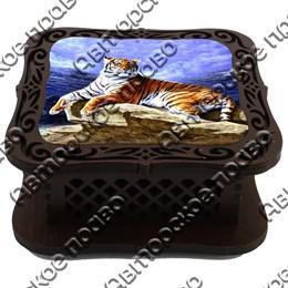 Шкатулка квадратная резная со смолой Тигры вид 2