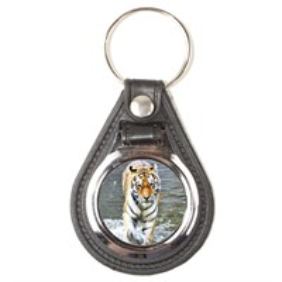 Брелок круглый кожа/металл Тигры вид 1