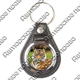 Брелок круглый кожа/металл Тигры вид 2