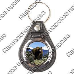Брелок круглый кожа/металл Медведи вид 2