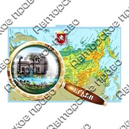 Магнит Карта с лупой и символикой Крыма