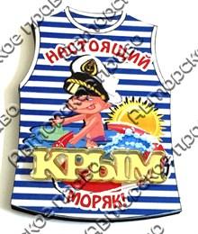 Магнит Тельняшка с зеркальной деталью и символикой Крыма