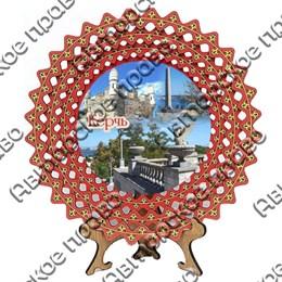 Тарелка-панно красная 20 см с достопримечательностями Керчи