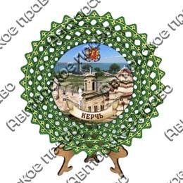 Тарелка-панно зеленая 20 см с достопримечательностями Керчи