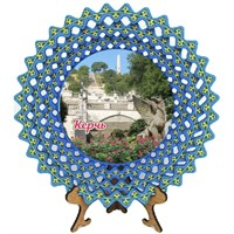 Тарелка-панно синяя 20 см с достопримечательностями Керчи