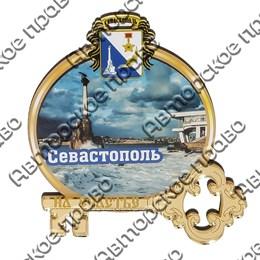 Магнит Круглая рамка с зеркальным ключом и видами Севастополя