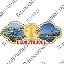 Магнит Этикетка с зеркальной фурнитурой и достопримечательностями Севастополя