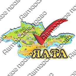Магнит Карта лайк с зеркальным логотипом Ялты