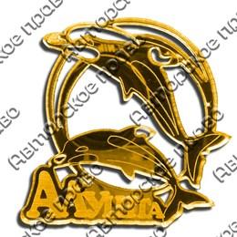 Магнит зеркальный Дельфины вид 1 с символикой Алушты