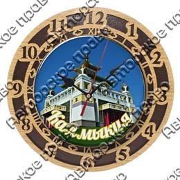 Часы 2-хслойные со смолой и достопримечательностями Калмыкии