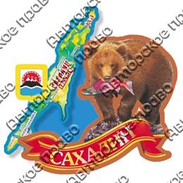 Магнит Медведь с картой и символикой Сахалина вид 1