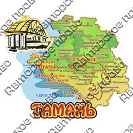 Магнит Карта с зеркальной фурнитурой и символикой Тамани