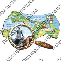 Магнит Карта с лупой вид 2 с символикой Тамани