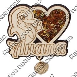 Магнит с янтарем и подвесной деталью Дельфинчик вид 2 с символикой Вашего города