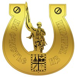 Магнит зеркальный Казак в подкове вид 1 с символикой Тамани