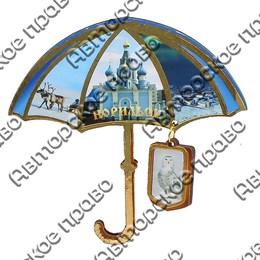 Магнит с тиснением золотой фольгой Зонтик с подвесной деталью и символикой Вашего города