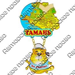 Магнит Качели Карта с зеркальной фурнитурой и котейкой с символикой Тамани