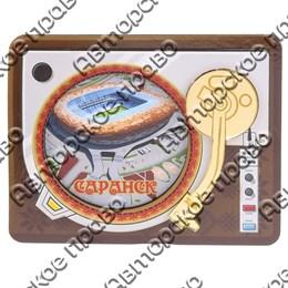 Магнит Проигрыватель с зеркальной фурнитурой и символикой Саранска